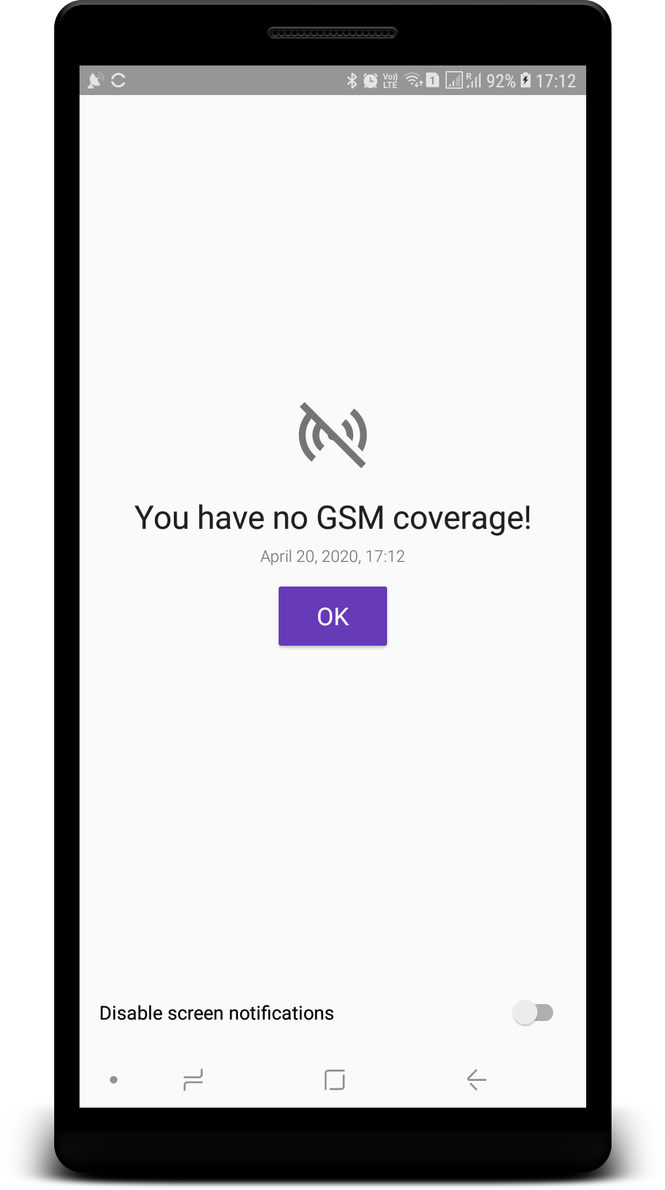 You have no GSM coverage